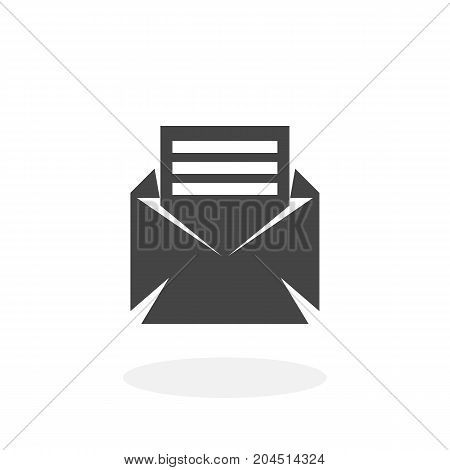 Open envelope mail icon isolated on white background. Open envelope mail vector logo. Flat design style. Modern vector pictogram for web graphics - stock vector