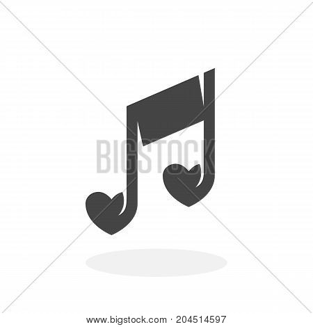 Love music icon isolated on white background. Love music vector logo. Flat design style. Note vector pictogram for web graphics - stock vector
