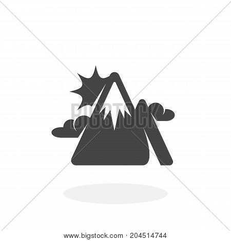 Mountains peak icon isolated on white background. Mountains peak vector logo. Flat design style. Modern vector pictogram for web graphics - stock vector