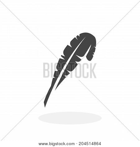 Feather icon isolated on white background. Feather vector logo. Flat design style. Pen vector pictogram for web graphics - stock vector