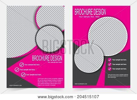 Pink Brochure template flyer design abstract template for annual report magazine poster