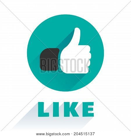 Like icon isolated in a flat style. A finger up social badge icon, rating symbol, for web site, mobile add-on and other your projects. Vector illustration.