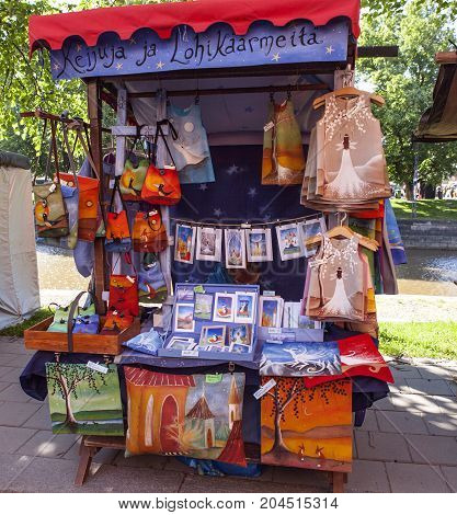TURKU, FINLAND ON JUNE 30. View of outdoor stand during the Medieval Market days on June 30, 2017 in Turku, Finland. Business in local or small stands. Editorial use.
