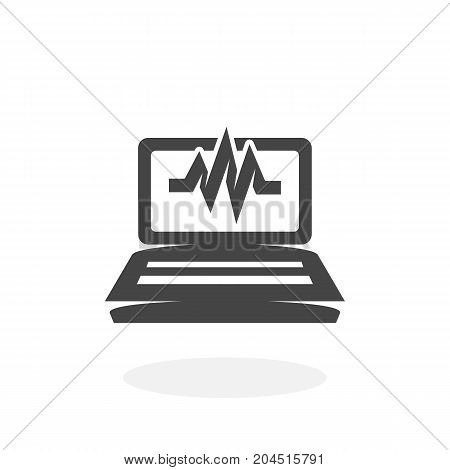Laptop diagnostic icon illustration isolated sign symbol. Laptop diagnostic vector logo. Flat design style. Modern vector pictogram for mobile and web design - stock vector