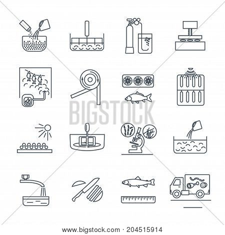 set of thin line icons food meal production process fish meat cooking
