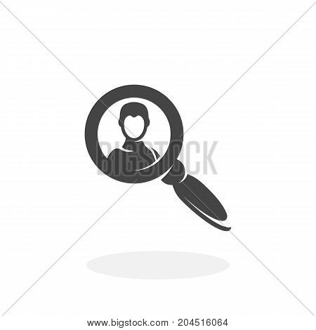 Search person icon illustration isolated sign symbol. Search person vector logo. Flat design style. Modern vector pictogram for mobile and web design - stock vector
