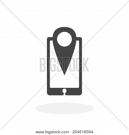 Smartphone GPS icon illustration isolated sign symbol. Smartphone with map marker vector logo. Flat design style. Modern vector pictogram for mobile and web design - stock vector