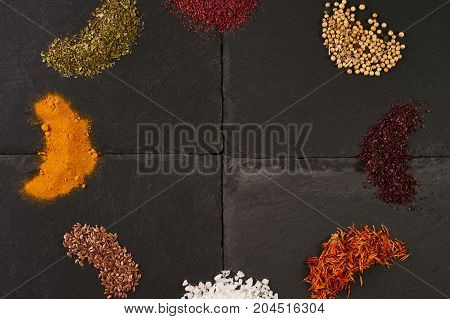 Top View Mix Of Indian Spices And Herbs
