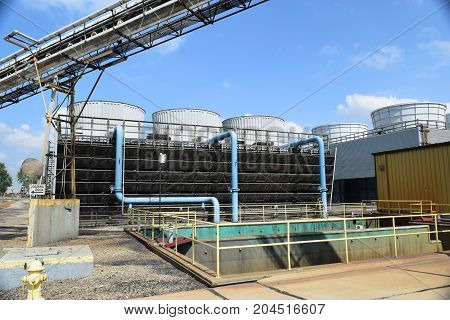 a series of cooling towers used to cool boilers.