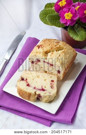 Homemade cottage cheese cake with cherries on a plate