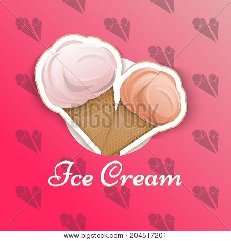 Ice cream is isolated in a waffle cup in the style of a cartoon logo emblem wrap for your product Vector illustration. Label, Milk, delicious dessert is cool, refreshing in your projects.