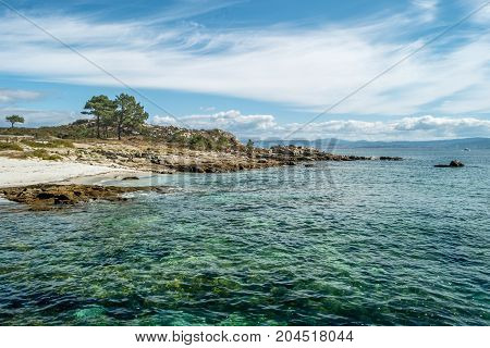 ISLAS CIES SPAIN - CIRCA SEPTEMBER 2017: Seashore at Cies islands of Spain included in the Atlantic Islands of Galicia National Park.