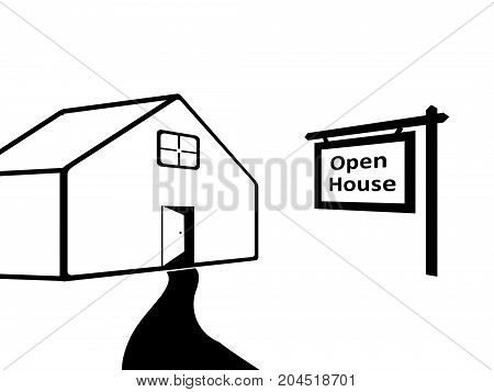 Open House Signboard next to a silhouette of the house