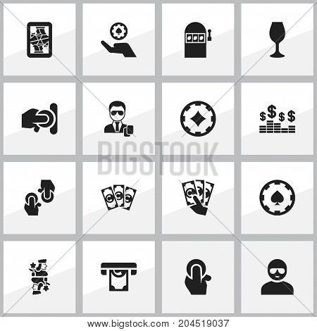 Set Of 16 Editable Gambling Icons. Includes Symbols Such As Wine, Knight, Agent And More