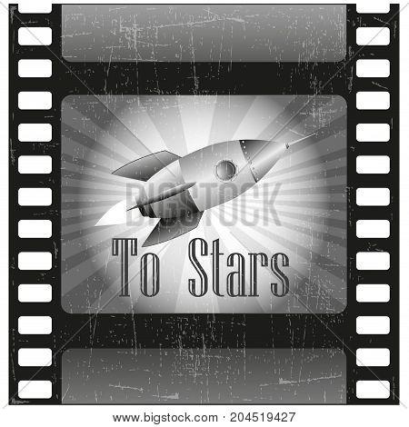 Retro rocket on film - vector - illustration