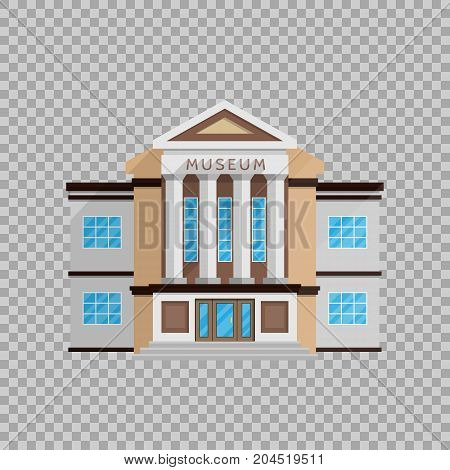 Museum building in flat style isolated on transparent background Vector illustration. Classical architecture, cultural monuments exhibits, cultural program symbol for your projects.