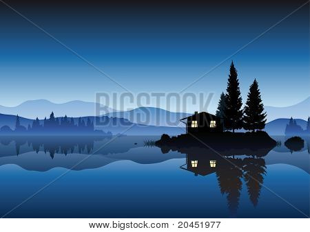 islet in a lake