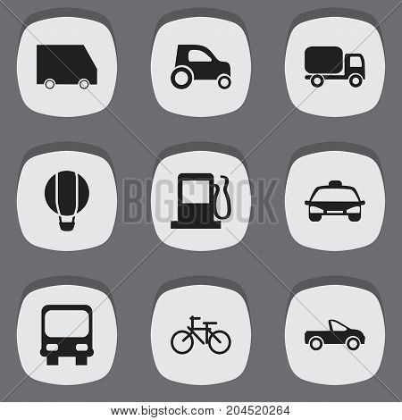 Set Of 9 Editable Transportation Icons. Includes Symbols Such As Airship, Food Transport, Autobus And More