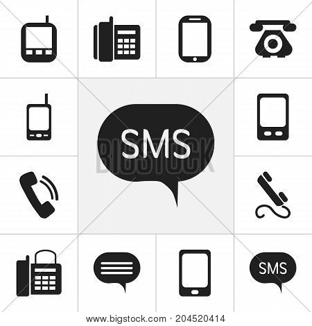 Set Of 12 Editable Gadget Icons. Includes Symbols Such As Tablet, Smartphone, Transceiver And More
