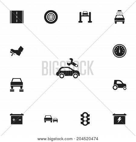 Set Of 13 Editable Transport Icons. Includes Symbols Such As Accumulator, Odometer, Service And More