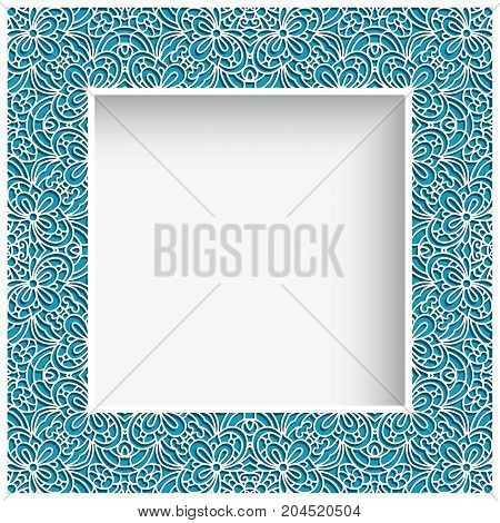 Square photo frame with lace border pattern swirly ornament suitable for laser cutting or cutout paperwork vintage decoration for greeting card or wedding invitation
