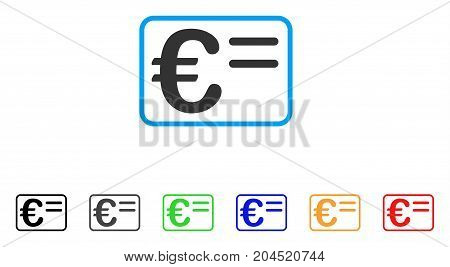 Euro Account Card icon. Vector illustration style is a flat iconic euro account card symbol with black, gray, green, blue, red, orange color variants. Designed for web and software interfaces.