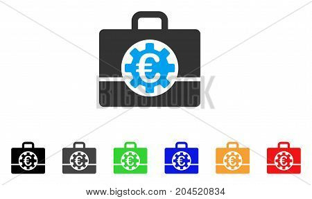 Euro Bank Case icon. Vector illustration style is a flat iconic euro bank case symbol with black, gray, green, blue, red, orange color additional versions. Designed for web and software interfaces.