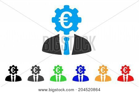 Euro Banker icon. Vector illustration style is a flat iconic euro banker symbol with black, gray, green, blue, red, orange color variants. Designed for web and software interfaces.