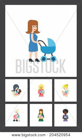 Flat Icon Mam Set Of Mam, Parent, Perambulator And Other Vector Objects