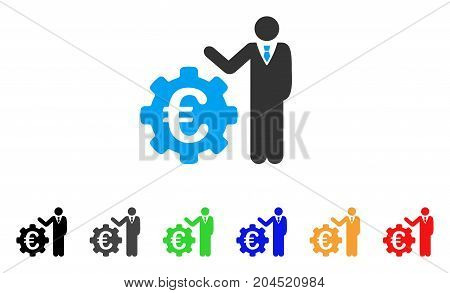 Euro Businessman icon. Vector illustration style is a flat iconic euro businessman symbol with black, grey, green, blue, red, orange color variants. Designed for web and software interfaces.