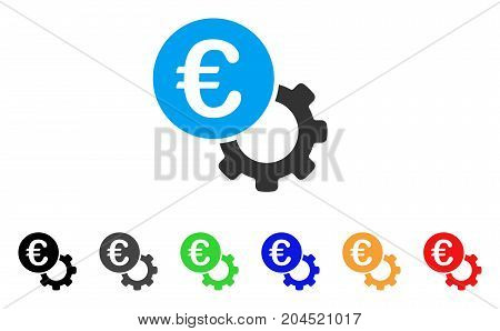 Euro Configure icon. Vector illustration style is a flat iconic euro configure symbol with black, grey, green, blue, red, orange color additional versions. Designed for web and software interfaces.