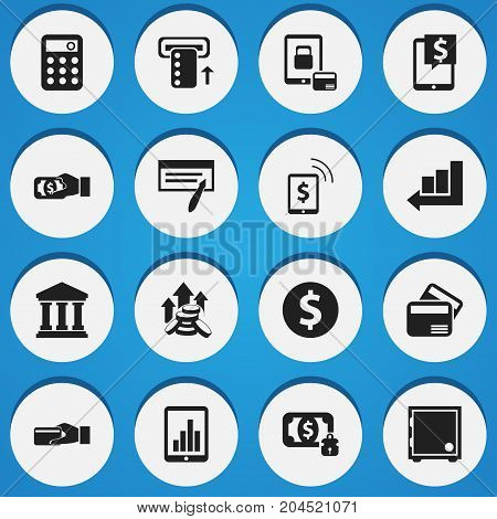Set Of 16 Editable Banking Icons. Includes Symbols Such As Pay, Money-Guard, Increase And More