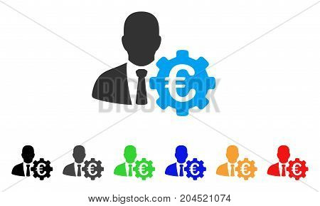 Euro Economist icon. Vector illustration style is a flat iconic euro economist symbol with black, gray, green, blue, red, orange color additional versions. Designed for web and software interfaces.
