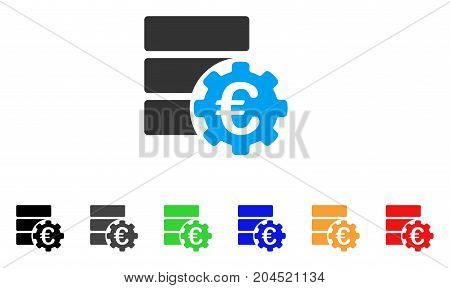 Euro Financial Database Options icon. Vector illustration style is a flat iconic euro financial database options symbol with black, gray, green, blue, red, orange color versions.
