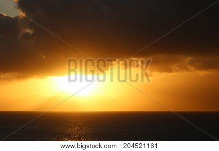 beautiful maui sunset over the calm ocean