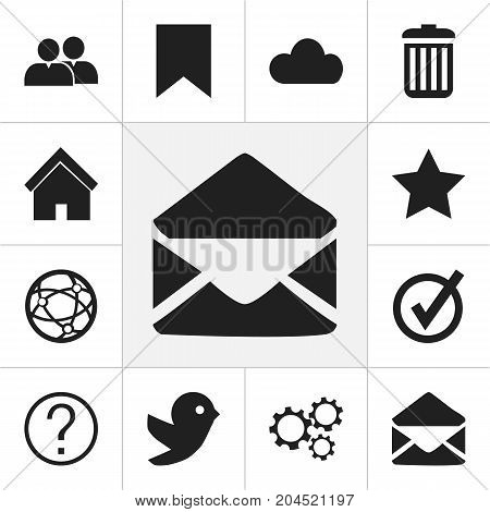 Set Of 12 Editable Internet Icons. Includes Symbols Such As Bookmark, Recycle Bin, Home And More