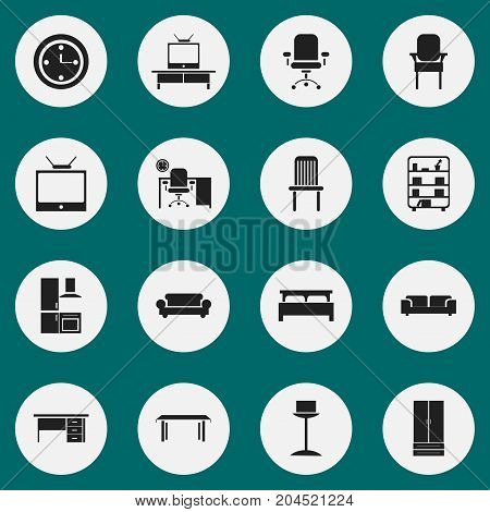 Set Of 16 Editable Furniture Icons. Includes Symbols Such As Bearings, Canape, Sofa And More
