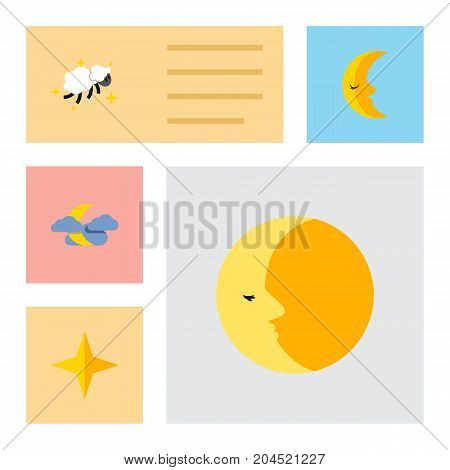 Flat Icon Night Set Of Lunar, Moon, Star And Other Vector Objects