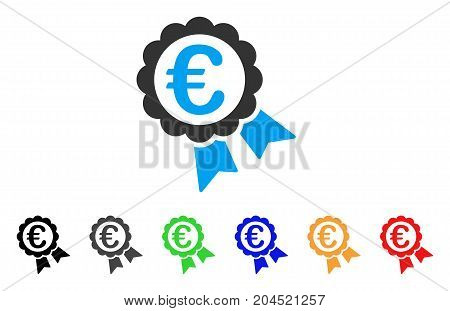 Euro Guarantee Seal icon. Vector illustration style is a flat iconic euro guarantee seal symbol with black, grey, green, blue, red, orange color variants. Designed for web and software interfaces.