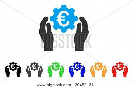 Euro Industry Care Hands icon. Vector illustration style is a flat iconic euro industry care hands symbol with black, gray, green, blue, red, orange color variants.