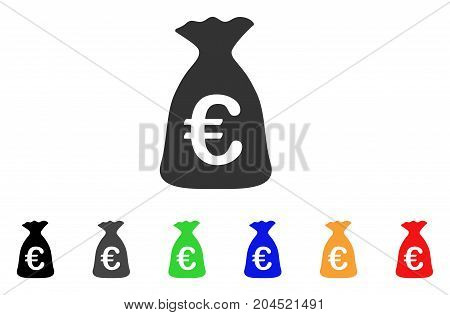 Euro Money Bag icon. Vector illustration style is a flat iconic euro money bag symbol with black, gray, green, blue, red, orange color versions. Designed for web and software interfaces.