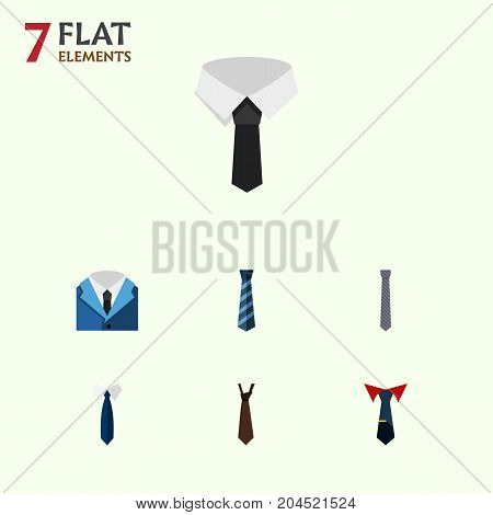 Flat Icon Tie Set Of Necktie, Tie, Textile And Other Vector Objects