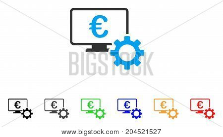 Euro Online Bank Configuration icon. Vector illustration style is a flat iconic euro online bank configuration symbol with black, gray, green, blue, red, orange color additional versions.