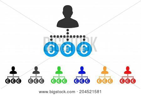 Euro Payer icon. Vector illustration style is a flat iconic euro payer symbol with black, grey, green, blue, red, orange color additional versions. Designed for web and software interfaces.
