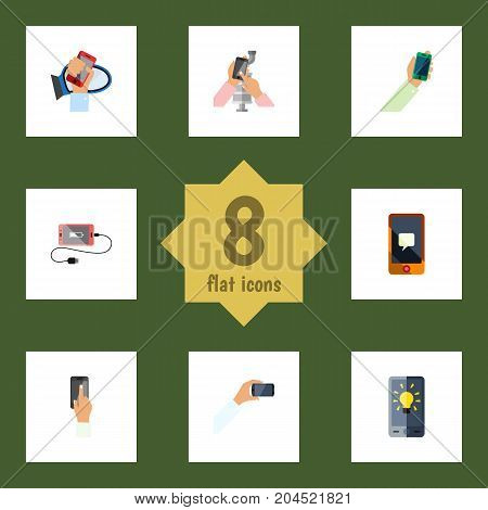 Flat Icon Phone Set Of Keep Phone, Chatting, Smartphone And Other Vector Objects