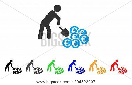 Person Mining Euro icon. Vector illustration style is a flat iconic person mining euro symbol with black, grey, green, blue, red, orange color additional versions.