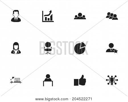 Set Of 12 Editable Job Icons. Includes Symbols Such As Like, Team, Businessman And More