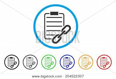 Blockchain Contract icon. Vector illustration style is a flat iconic blockchain contract grey rounded symbol inside light blue circle with black, gray, green, blue, red, orange color versions.