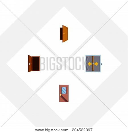 Flat Icon Approach Set Of Lobby, Entry, Door And Other Vector Objects