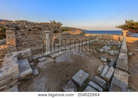 Ruins of ancient village in Archaeological site of Aliki Thassos island East Macedonia and Thrace Greece